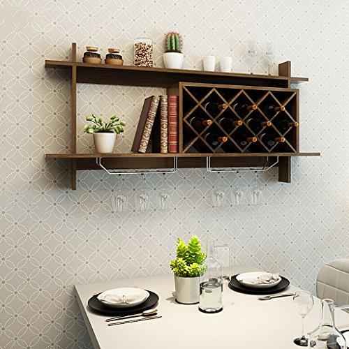 Mensole da parete mensola per il vino in legno massello con portabottiglie in metallo massiccio per bancone bar (colore : nero, dimensioni : 120x20x58.5cm)