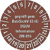 LEMAX® Prüfplakette geprüft gem. BetrSichV §3(6) DGUV,18-23,braun,Dokufolie,Ø30mm,18/Bogen