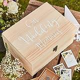 Holz-Box 'Wedding-Memories' - Erinnerungs-Box & Aufbewahrungs-Kiste für Hochzeits-Karten, Hochzeits-Erinnerungen, usw. / Hochzeits-Deko / Hochzeit / Holz-Box / Gäste-Buch / Dekoration & Zubehör