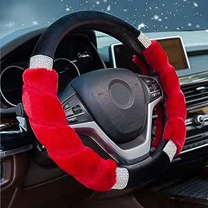Lenkradabdeckung f/ür den Winter Auto 37-39cm 3pcs Universal Pl/üsch Lenkradh/ülle Lenkradbezug,100/% Wolle Soft aus Australien