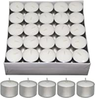 Nanki Trades Long Burning Round Wax Tea Light Candles (3.7 cm x 3.7 cm x 2.5 cm, White, Set of 50)