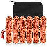 LIHAO 6X Kletterseil Reepschnur Nylon Seil Set mit rot Schiebeknopf für Outdoor Sport Camping Bergung, EIN schwarz Aufbewahrungsbeutel, Orange 4m*4mm (MEHRWEG)