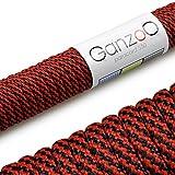 Paracord 550 Seil, 31 Meter, für Armband, Knüpfen von Hundeleine oder Hunde-Halsband zum selber machen / Seil mit 4mm Stärke / Mehrzweck-Seil / Survival-Seil / Parachute Cord belastbar bis 250kg (550lbs), Farbe: rot, schwarz, Marke Ganzoo