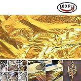 100PZ 14x 14cm foglia oro 24K doratura fogli/leaves nail art bricolage