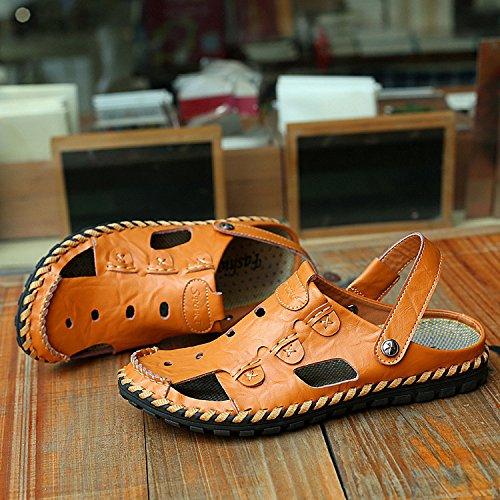 Xing lin sandali estivi baotou scarpe da spiaggia_in cuoio cuoio traspirante sandali baotou antiscivolo artigianale di sandali uomini di grandi dimensioni