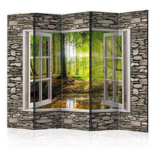 murando Raumteiler Fensterblick Fenster Landschaft Foto Paravent 225x172 cm beidseitig auf...
