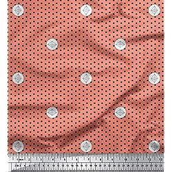 Soimoi Naranja rayo de crepé Tela geométrica y lunares puntos tela estampada de 1 metro 46 Pulgadas de ancho