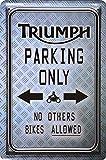 Wandschild Metalschild Parkschild Triumph Parking Only Biker 20x30cm Reklame Retro Blech Metal Sign XPS13WA