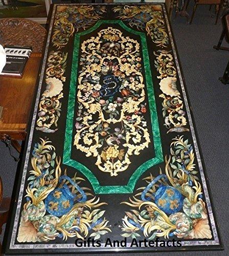 Gifts And Artefacts 182,9x 91,4cm Rechteck schwarz Marmor Pietra Dura Art Luxus Konferenz Tisch Top