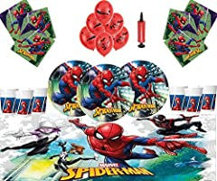 Idea Regalo - Marvel Spiderman Party Supplies Compleanno per bambini Stoviglie Spiderman Decorazioni per 16- Spiderman Piatti Palloncini in lattice Cornice per foto gratis e palloncino