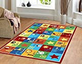 Kids Rug ABC Animals 3' X 5' Children Area Rug anti skid actual size 3'3 x 5' by Furnish my Place