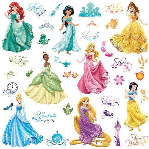 Roommates 21990 - Disney Prinzessinnen Wandtattoos/Sticker mit Glitzer, geblistert, 4 Blätter, 37 Elemente