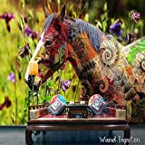 Non-woven photo wallpaper WALL MURAL Wall Pictures Flowers Colourful Dancing Horses KN/2924, XS 150cm(B) x 105cm(H) 3-Bahne