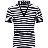 GRMO Men Summer Stripe Print Short Sleeve V-Neck Loose Work Polo Shirt