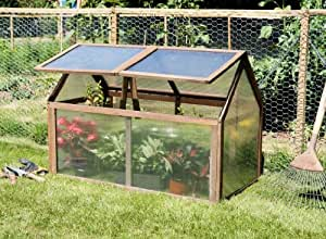 """Lacewing 3'3"""" x 2'1"""" (100x65cm) Double Lid Wooden Cold Frame"""
