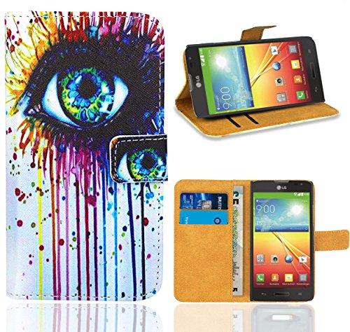 FoneExpert® LG Optimus L70/LG L70 Handy Tasche, Wallet Case Flip Cover Hüllen Etui Ledertasche Lederhülle Premium Schutzhülle für LG Optimus L70/LG L70