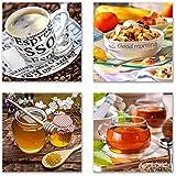 Küchen Bilder Set I schwebend, 4-tlg. Bilder-Set jedes Teil 19x19cm, Seidenmatte Optik auf Forex FineArt Print, UV-stabil, wasserfest, Deko für Büro, Wohnzimmer, Espresso Obst Honig Kaffeebohnen Tee