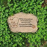 Petcabe Dog Paw Print Memorials & Tombstones, Polyresin Laser Slate Pet Memorial Stone, Handmade Grave Marker, Dog Plates & Plaques en memoria de perros y gatos, Incluye un marco de fotos y un poema de simpatía - Indoor Outdoor Dog o Cat For Garden Backyard - Pérdida de regalo de mascotas