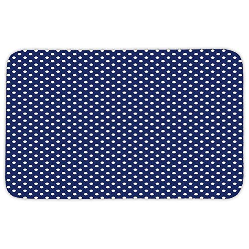 Area Rug Mat Rug,Retro,Pattern with White Polka Dots on a Sailor Navy Dark Blue Background Vintage Tile,White Navy Blue,Home Decor Mat with Non Slip Backing,31.5 X 19.68 Inch ()