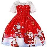 Ropa Navidad Niña Vestido de Princesa con Santa Claus Muñeco de Nieve Imprimiendo