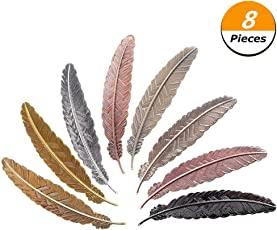 Climberty 8 Pieces Metal Feather Bookmarks Assorted Metal Bookmark Feather Shape Book Marker for Adults and Kids