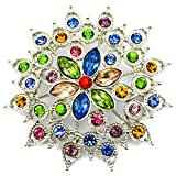 Elixir77UK Silver Colour Flower Fashion Decoration Gift Brooch Badge With Multicolored Crystals UK SELLER