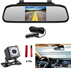 "Podofo 4 Pins Connector Design Auto Rückfahrkamera mit 4,3 ""TFT LCD RearView Spiegel Monitor Wasserdichte Rückfahrkamera"