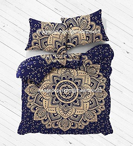 THE ART BOX Goldene und Blaue Blume Indische Bettbezug Bettwäsche Tagesdecke 3 Stück Baumwolle Bettbezug Set Queen Size 85 x 90 Zoll (3 Queen-size-schlafzimmer-set Stück)