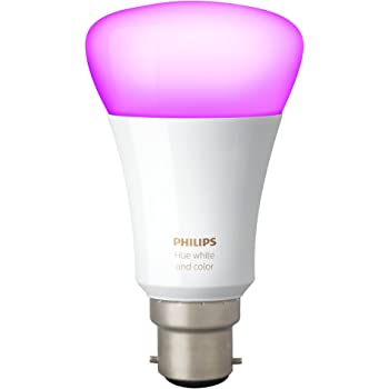 Philips Hue White and Colour Ambiance Wireless Lighting 9.5 W B22 Bayonet Cap Richer Colours LED Bulb, Works with Alexa