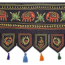 Tapiz Decoración Indian Home Décor bordado Negro Puerta