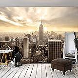 decomonkey | Fototapete New York Stadt City 300x210 cm XXL | Design Tapete | Fototapeten | Tapeten | Wandtapete | moderne Wanddeko | Wand Dekoration Schlafzimmer Wohnzimmer | Wolkenkratzer Sonne Braun Beige | FOB0235a62XL
