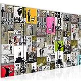 Bilder Collage Banksy Street Art Wandbild 200 x 80 cm - 5 Teilig Vlies - Leinwand Bild XXL Format Wandbilder Wohnzimmer Wohnung Deko Kunstdrucke Bunt -100% MADE IN GERMANY - Fertig zum Aufhängen 302755a