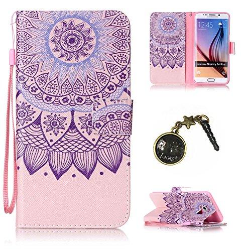 für Smartphone Samsung Galaxy S6 Edge Plus Hülle, Klappetui Flip Cover Tasche Leder [Kartenfächer] Schutzhülle Lederbrieftasche Executive Design (+Staubstecker) (4OO)