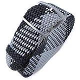 Cinturino per orologio in tessuto Strapcode 20, 22mm Cinturino per orologio in tessuto MiLTAT, nero e grigio chiaro, fibbia c