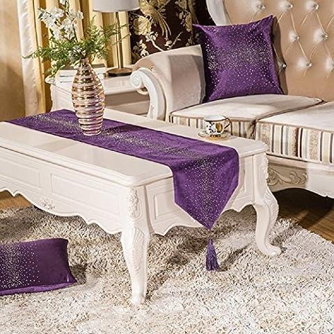 LD&P La nouvelle table de mode de style européen luxe main-sac diamant runner coton variété chemin de table décoration de table,F,32*200cm