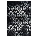 MyShop24h.de Teppich Schwarz Weiß Ornamenten Floralen Muster Elegant Vintage Look, Größe in cm:120 x 170 cm