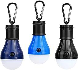 Campinglampe 3 Stücke LED Camping Laterne LED Leuchte in 3 Gehäuse Farben Tragbare Zeltlampe Laterne Glühbirne Set-Notlicht Lumen Camping Licht für Camping, Abenteuer,Angeln, Garage, Notfall , Stromausfall wasserdicht