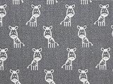 Miniatur-Tiere Print Baumwolle Popeline Stoff Kleid Grau