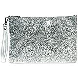 CASPAR TA341 große Damen XL Glitzer Pailletten Clutch Tasche Abendtasche mit Handschlaufe, Farbe:silber/silber;Größe:One Size