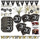 Amscan 30. Geburtstag Glitter Party Set XL 50-teilig 16 Gäste Glitzer Deko Partypaket