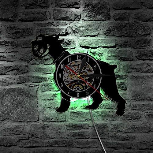 KWYAN Schnauzer Hund Laser led Vinyl Uhr Wandleuchte Beleuchtung Farbwechsel Vintage lp handgemachte Kunst dekor Lampe Fernbedienung -