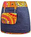 SUNSA Kinder Rock Jeansrock Minirock Wickelrock Wenderock Sommerrock Kinderrock aus Baumwolle, Zwei optisch verschiedene Röcke mit einem abnehmbaren Täschchen, Größe ist variabel verstellbar