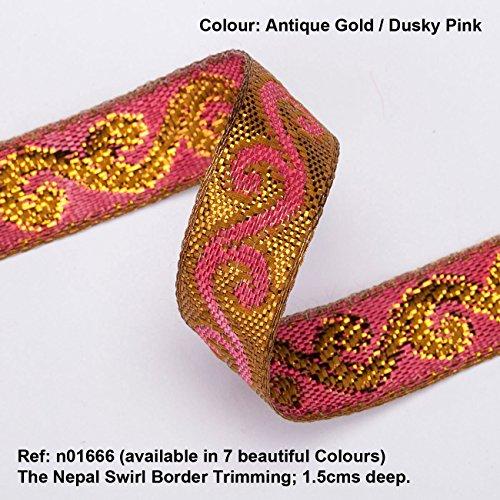 Von Kostüm Antike Indien - Wirbel Florales Jacquard Muster,mit Antik,glänzend altem Gold Metallischem Verschnitt,auf solider Farbenbasis,Farbenwirbel Muster,Jacquard Kontrast,Getrimmt Band,Neotrims