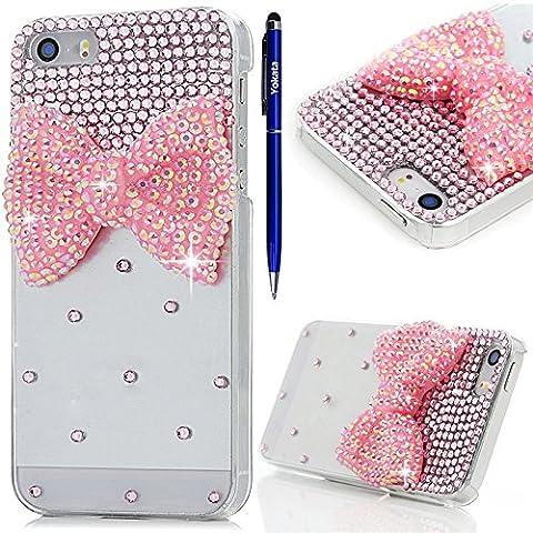iPhone 5 / 5S / SE Hülle, Yokata Luxury Transparent mit Rosa Bowknot Motiv Case Glitzer Bling 3D Diamant Cover PC Hart Plastik Schutz Creative Schutzhülle + 1 X Stylus Pen