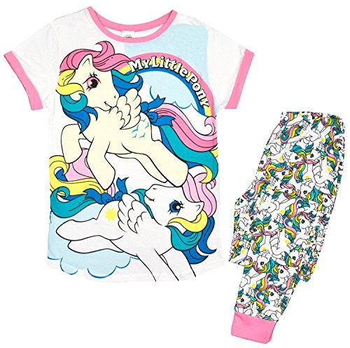 Damen Weiche Baumwolle voller Länge Pyjama Pyjama PJ 's Damen Xmas Geschenk Presents Größe UK 8–22 Gr. Small, Vintage My Little Pony (Christmas Pyjamas Disney)
