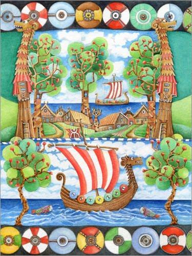 Póster 60 x 80 cm: Haithabu and The Vikings de Atelier BuntePunkt - impresión artística, Nuevo póster artístico