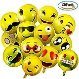 """Globo Emoji, Meersee 26 Piezas Globos Emoticono de Aluminio Reutilizable Amarillo Cara Expressions Globos de Helio Emoji para Fiesta, 18"""""""