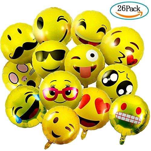 """Czemo Globo Emoji, 26 Piezas Globos Emoticono de Aluminio Reutilizable Amarillo Cara Expressions Globos de Helio Emoji para Fiesta, 18"""""""
