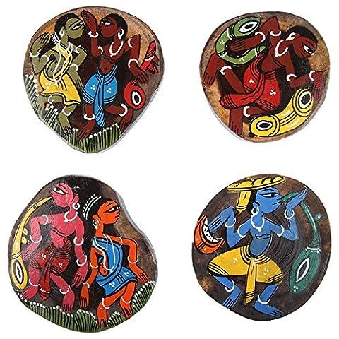 Ananth Crafts peinte à la main en bois 4pièces Unique Dessous-de-verre