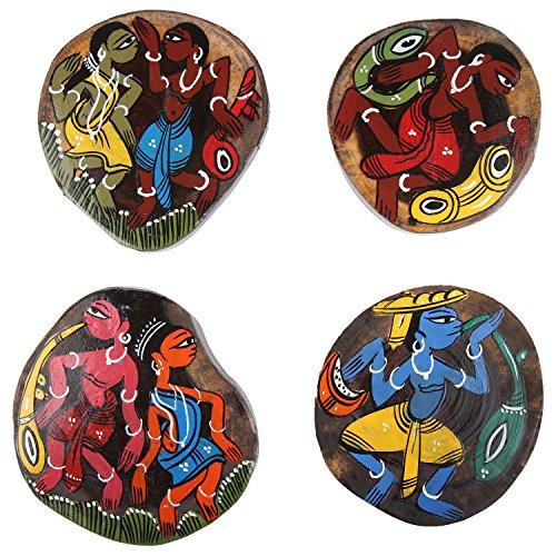 ananth-crafts-peinte-a-la-main-en-bois-4-pieces-unique-dessous-de-verre